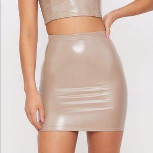 Nude latex skirt